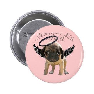 Baby Pug  Angel Pinback Button