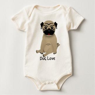 Baby pug love baby bodysuit