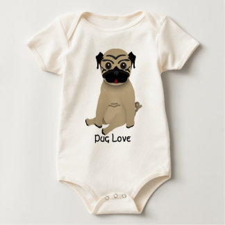 Baby pug love rompers