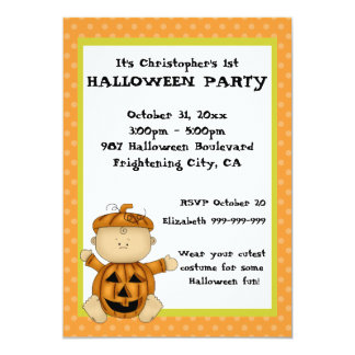 Baby Pumpkin Kid First Halloween Party 5x7 Paper Invitation Card
