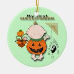 Baby Pumpkin My 1st Halloween Round Ornament