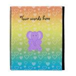 Baby purple elephant rainbow hearts pattern iPad cases