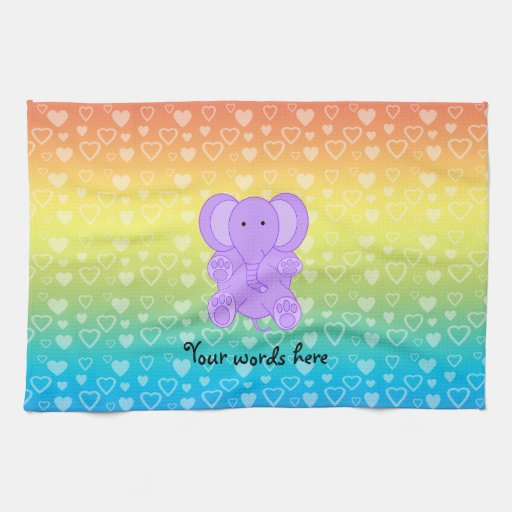 Baby purple elephant rainbow hearts pattern kitchen towels