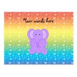 Baby purple elephant rainbow hearts pattern postcards