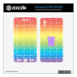 Baby purple elephant rainbow hearts pattern samsung STAR S5230C skin