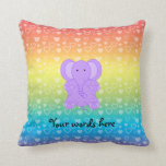Baby purple elephant rainbow hearts pillow