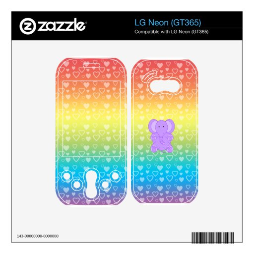 Baby purple elephant rainbow hearts decal for LG neon