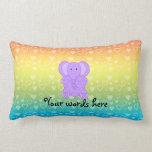 Baby purple elephant rainbow hearts throw pillow
