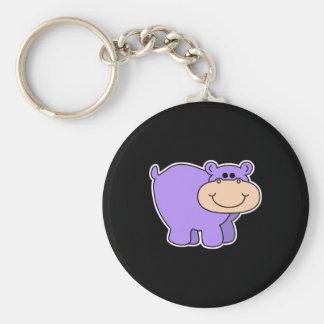 baby purple hippo basic round button keychain