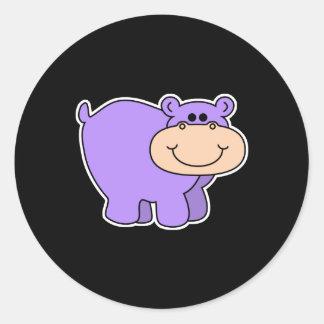 baby purple hippo classic round sticker
