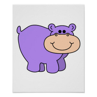 baby purple hippo poster
