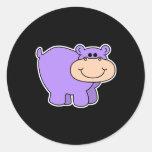 baby purple hippo round stickers