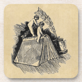 Baby Putto and Books Coasters
