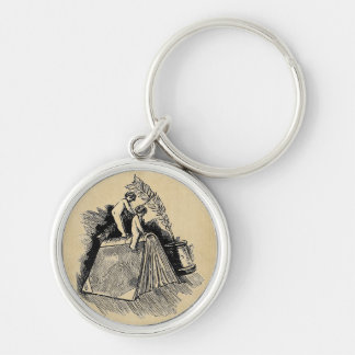Baby Putto and Books Keychain