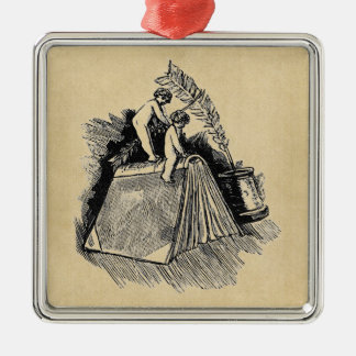 Baby Putto and Books Metal Ornament