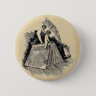 Baby Putto and Books Pinback Button
