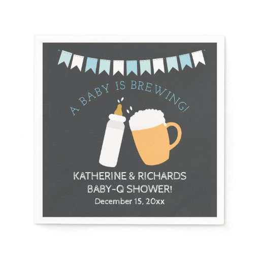 Baby-Q Baby is Brewing Boy Shower Napkin