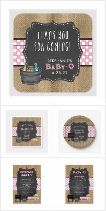 Baby-Q baby shower / rustic pink
