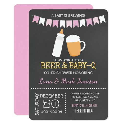Baby-Q BBQ Beer Shower Co-Ed Girl Invitation Pink