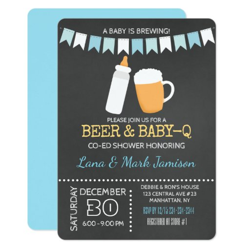 Baby-Q BBQ Beer Shower Invite (Blue Back)