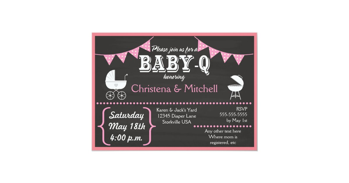 baby q chalkboard baby shower invitations pink zazzle