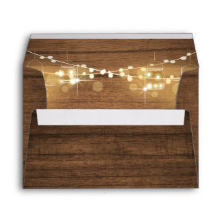 Baby Q Coed BBQ Baby Shower Envelope Wood Rustic