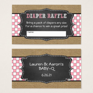 Baby Q Diaper Raffle Tickets / GIRL baby shower