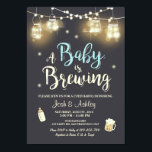 "Baby Q invitation Coed BBQ Baby brewing Boy blue<br><div class=""desc"">♥ A fun and rustic Coed baby shower invite,  for a BaByQ! A Baby is brewing theme,  with blue for a boy shower.</div>"