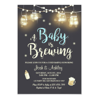 Baby Q invitation Coed BBQ Baby brewing Boy blue