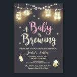 "Baby Q invitation Coed BBQ Baby brewing Pink Girl<br><div class=""desc"">♥ A fun and rustic Coed baby shower invite,  for a BaByQ! A Baby is brewing theme,  with pink for a girl shower.</div>"