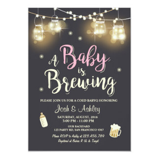 Baby Q invitation Coed BBQ Baby brewing Pink Girl