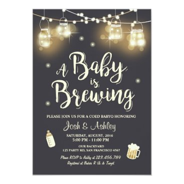 Toddler & Baby themed Baby Q invitation Coed BBQ Baby brewing shower