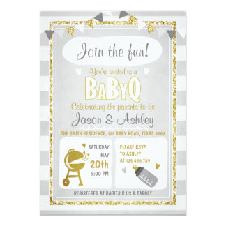 Baby Q invitation Coed BBQ Baby Shower Invite Grey