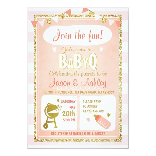 Baby Q invitation Coed BBQ Baby Shower Invite Pink