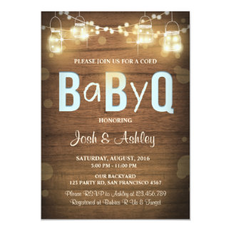 Baby Q invitation Coed BBQ Baby Shower Rustic Blue