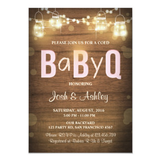 Baby Q invitation Coed BBQ Baby Shower Rustic Pink