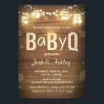 "Baby Q invitation Coed BBQ Baby Shower Rustic Wood<br><div class=""desc"">♥ A fun and rustic Coed baby shower invite,  for a BaByQ!</div>"