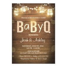 Baby Q invitation Coed BBQ Baby Shower Rustic Wood