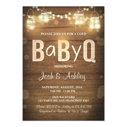 baby q invitation coed bbq baby shower rustic wood | zazzle, Baby shower invitations