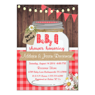 Baby Q Mason Jar Baby Shower Invitation BBQ