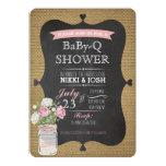 BaBy-Q Shower Burlap Mason Jar Chalkboard Invite