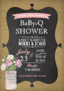 baby q shower burlap mason jar chalkboard invite