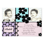 """Baby Quilt and Flowers 5"""" X 7"""" Invitation Card"""