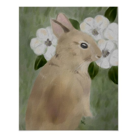 Baby Rabbit and White Flowers Poster Print