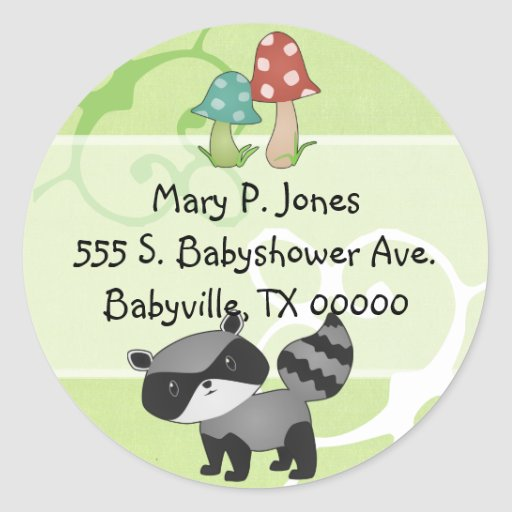 Baby Raccoon Address Label Stickers
