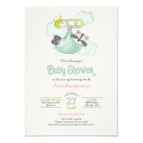 Baby Raccoon Bundle Special Deliver Shower Invitation