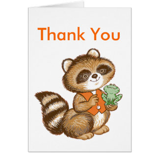 Baby Raccoon in Orange Vest with Best Friend Frog Card