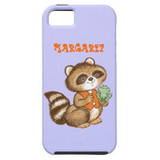 Baby Raccoon in Orange Vest with Best Friend Frog iPhone SE/5/5s Case