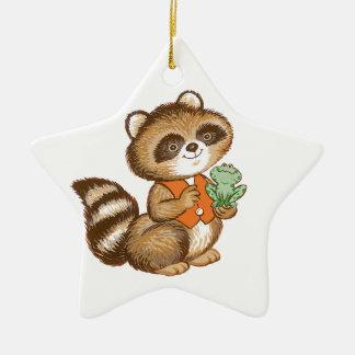 Baby Raccoon in Orange Vest with Best Friend Frog Ornaments