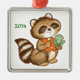 Baby Raccoon in Orange Vest with Best Friend Frog Christmas Ornament